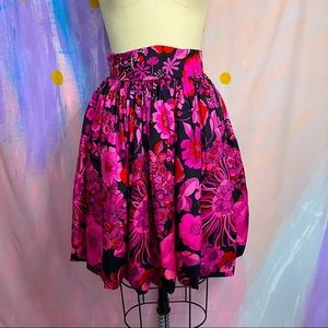 VINTAGE 60s Hot Pink Midnight Floral Bubble Skirt